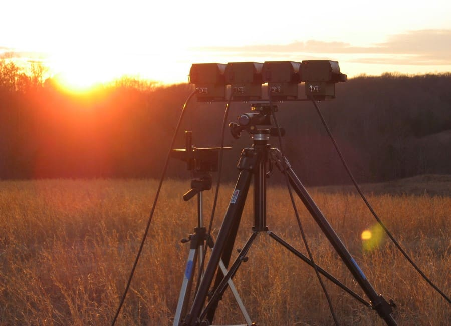 Sensor equipment in the field at sunset